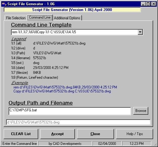 Script template and output filename